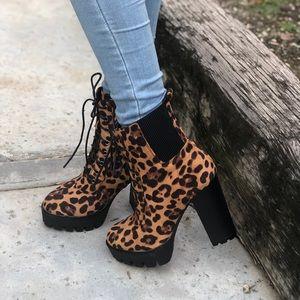 Faux suede leopard booties